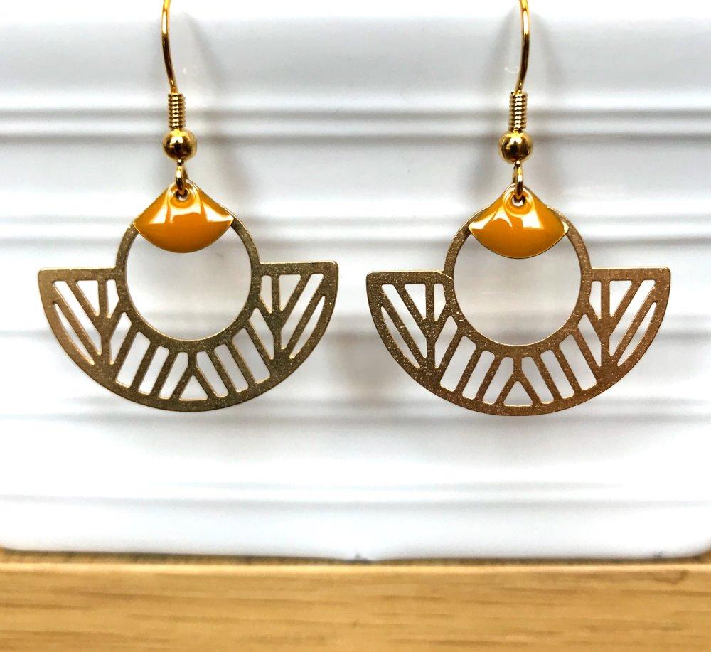 Boucles d'oreilles aztèque doré/moutarde