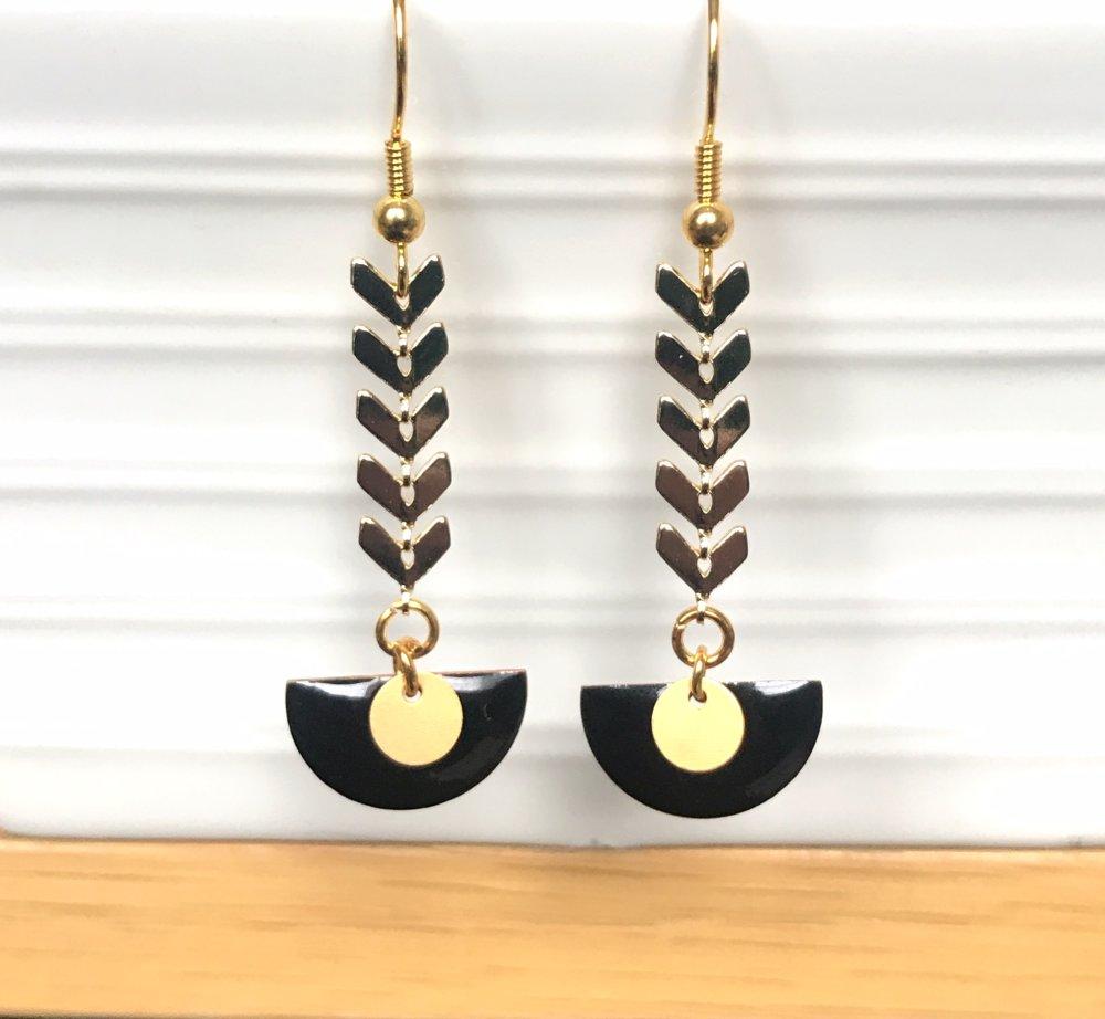Boucles d'oreilles chaîne épi doré/noir