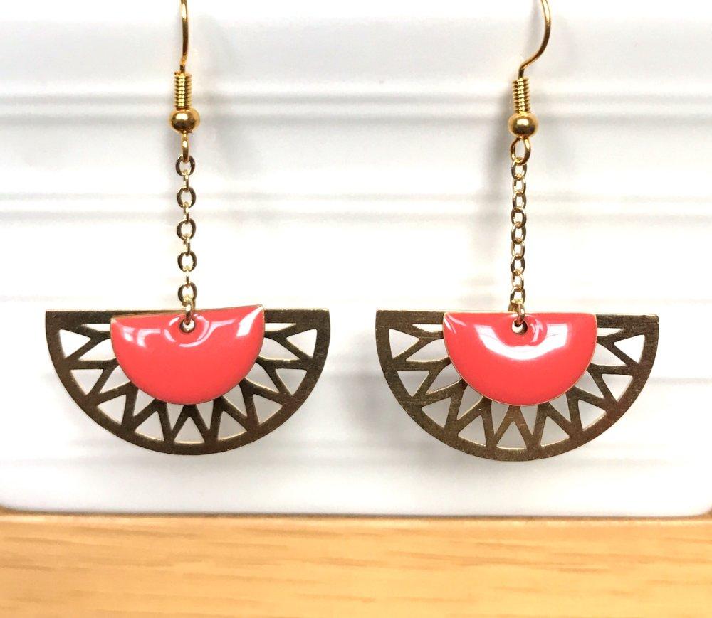 Boucles d'oreilles rosace doré/corail