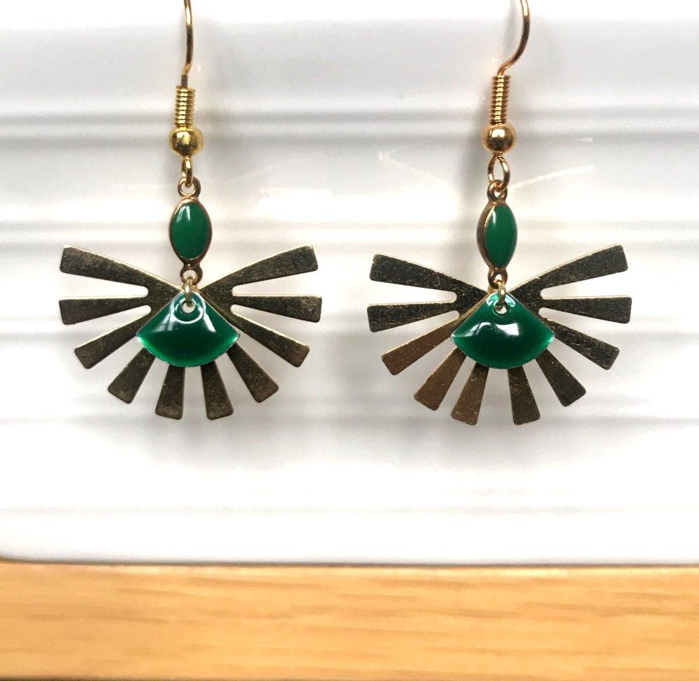 Boucles d'oreilles soleil levant doré/vert