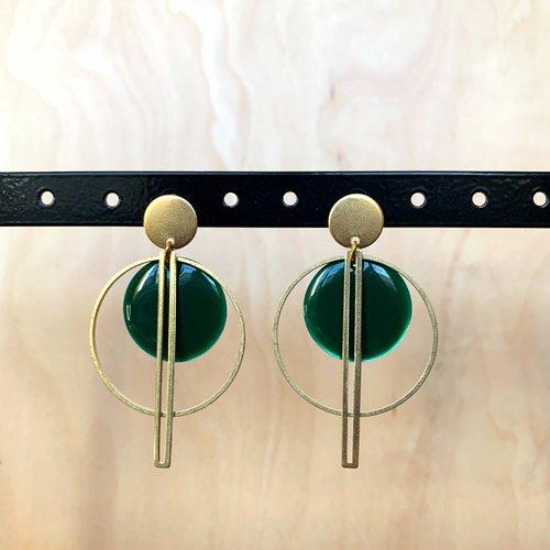 Boucles d'oreilles géométriques doré/vert sapin