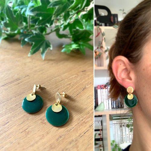 Puces d'oreilles dorées/vert sapin