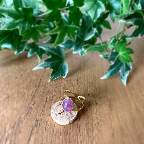 Bague ajourée doré/violet