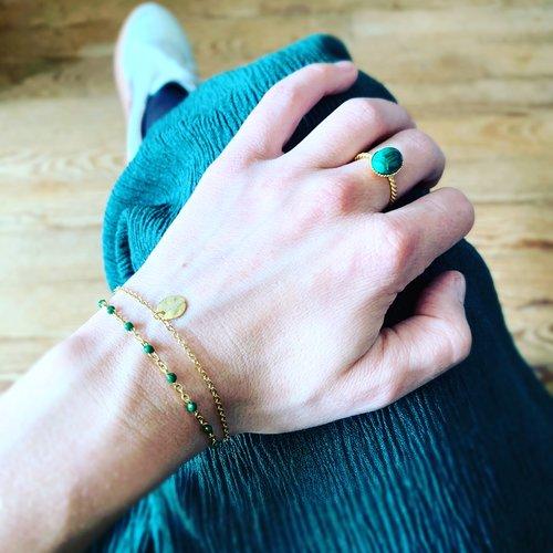Bracelet double doré vert sapin
