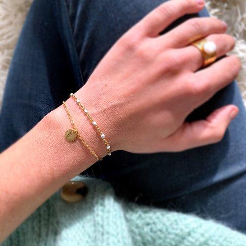 Bracelet double doré/blanc