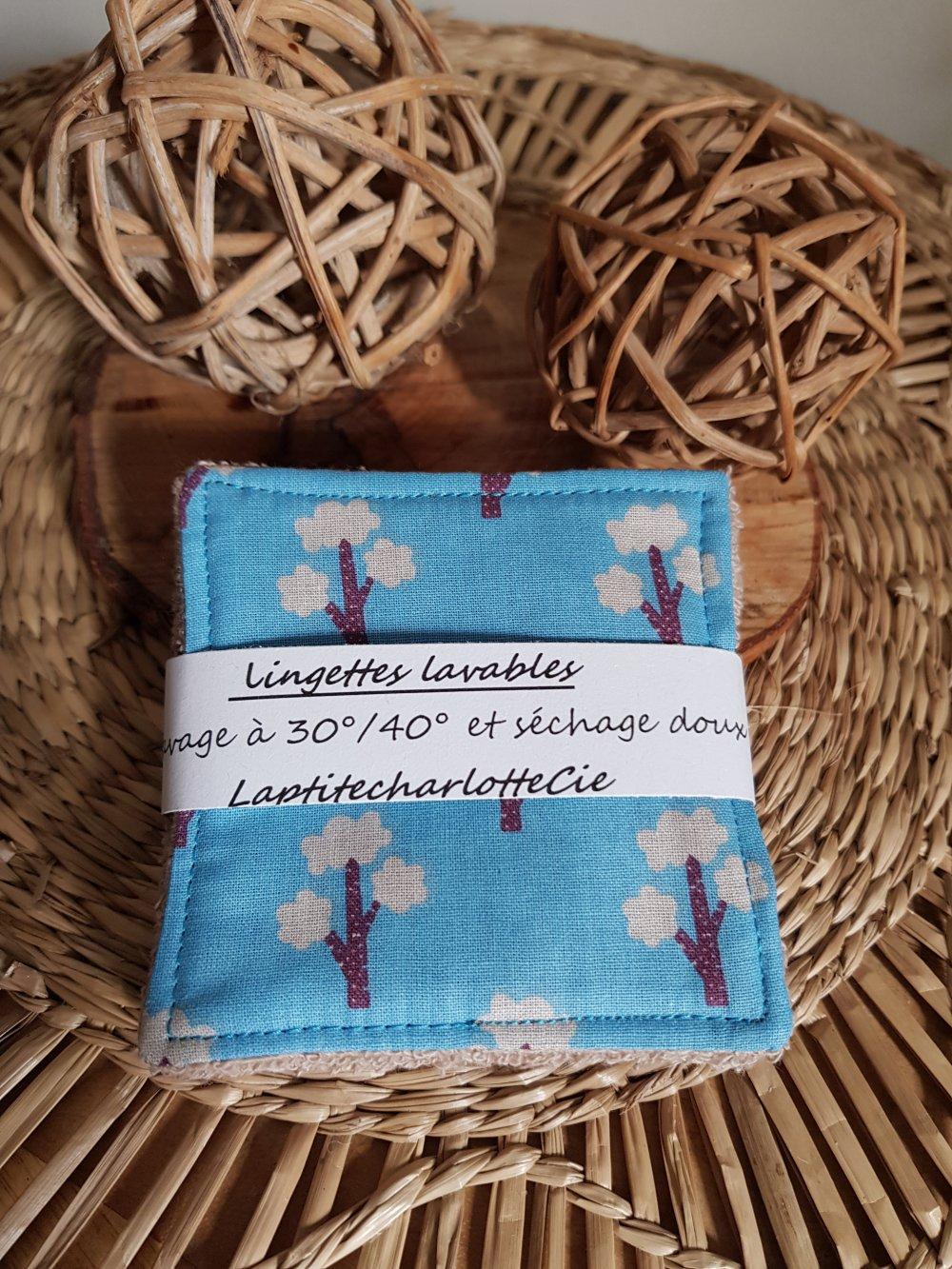 lingettes motifs japonais bleu