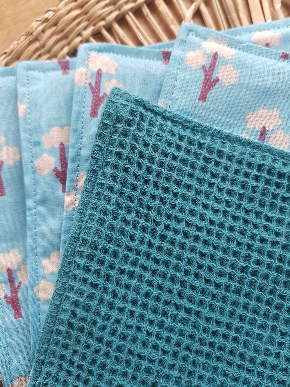 essuie tout lavable motifs japonais bleu