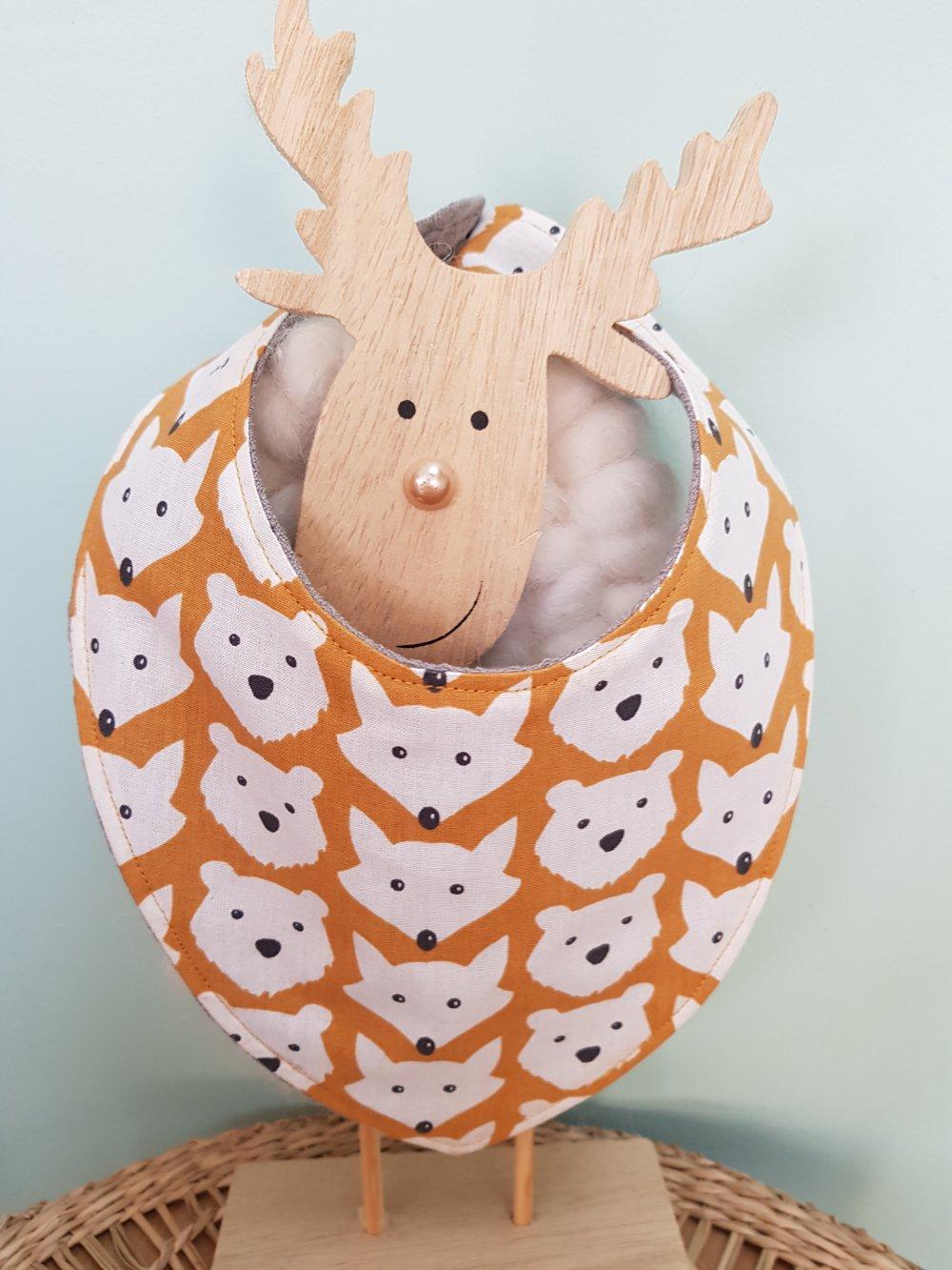 bavoir motifs renards, moutarde