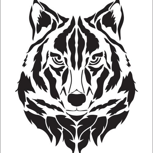 Ensemble de 10 pochoirs tête de loup.  pochoir en vinyle adhésif (ref 578-10)