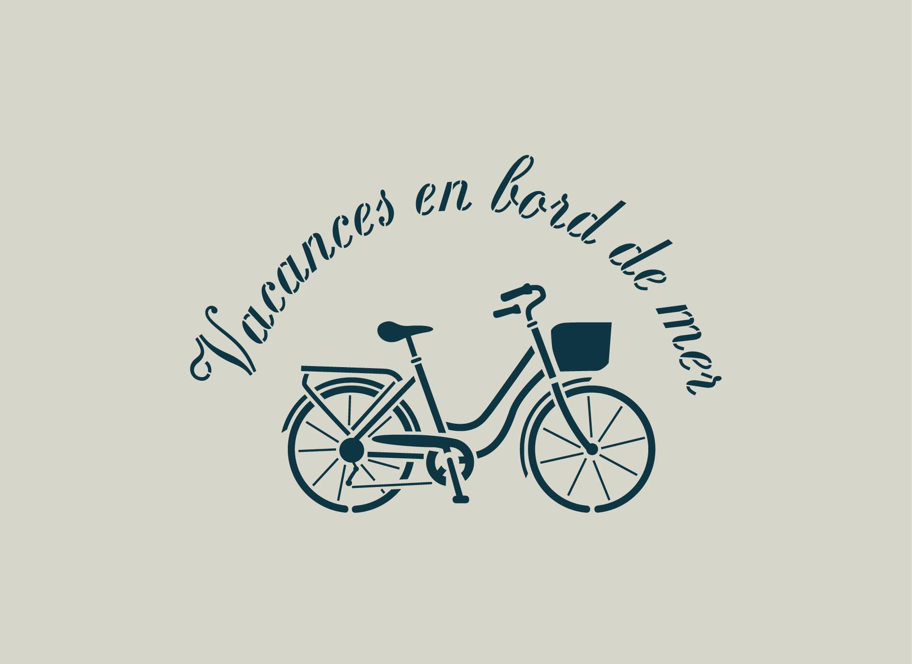 Pochoir bicyclette. Pochoir bord de mer (ref 630-1)
