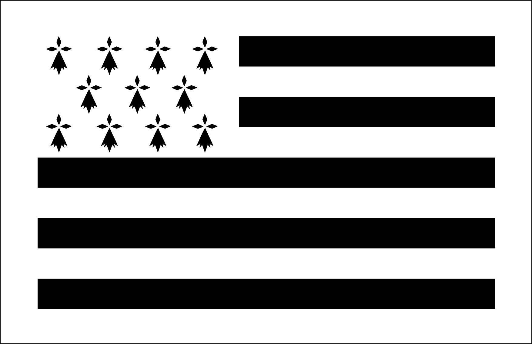 Pochoir en vinyle adhésif. Drapeau breton. Gwenn ha du (ref 122)