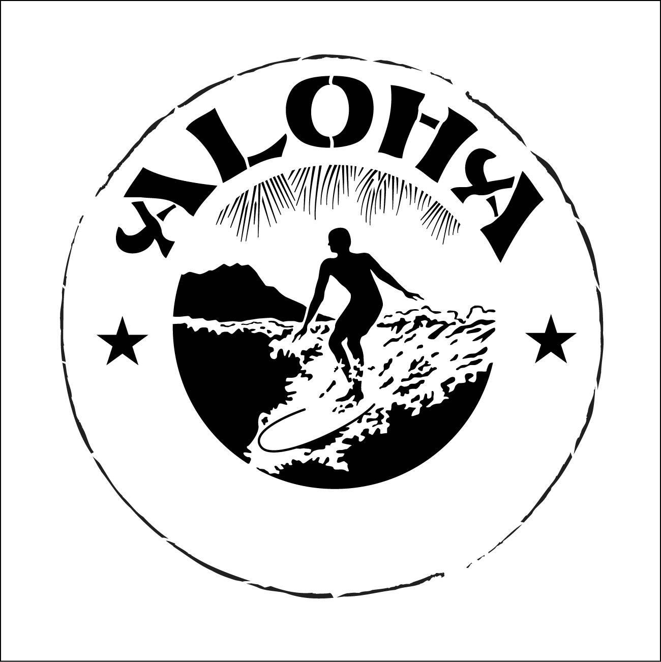 Surfeur. Pochoir de surf. Pochoir surfeur. Pochoir Tahiti. Pochoir aloha (ref 237)