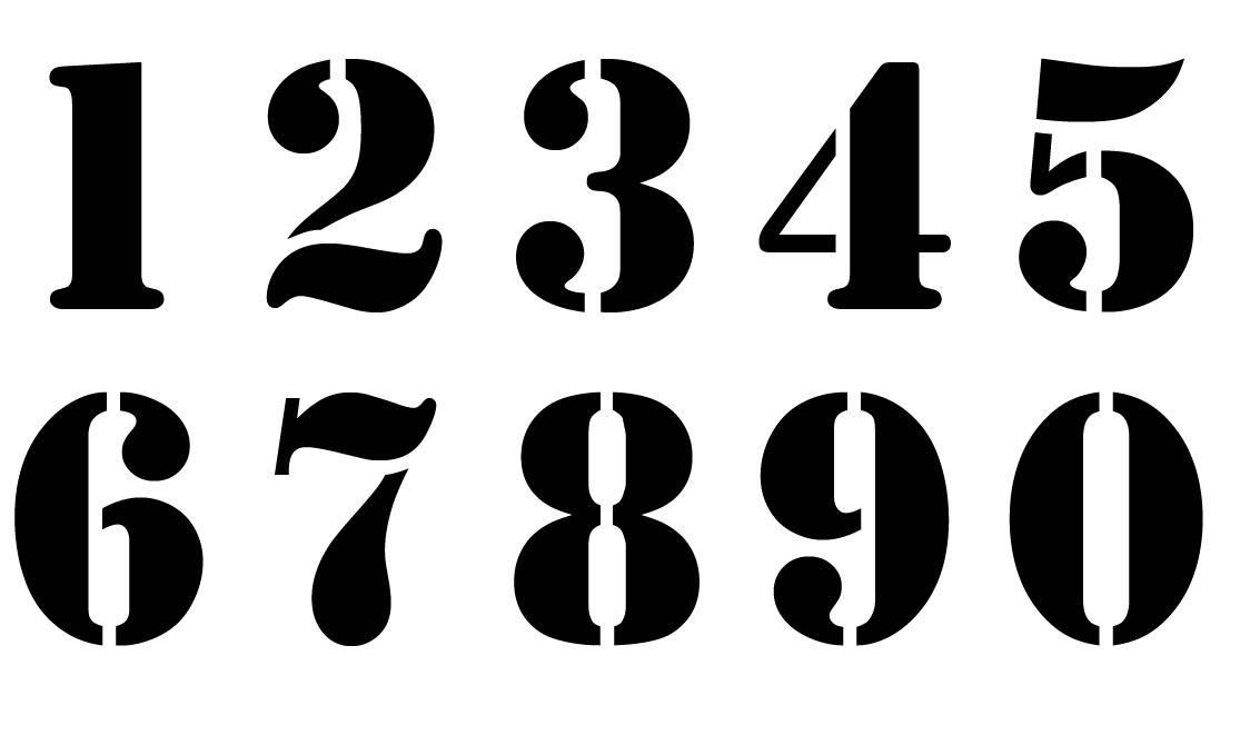 Nombre 12 cm. Numéro. Chiffre. Pochoir en vinyle adhésif. (ref 231-4)