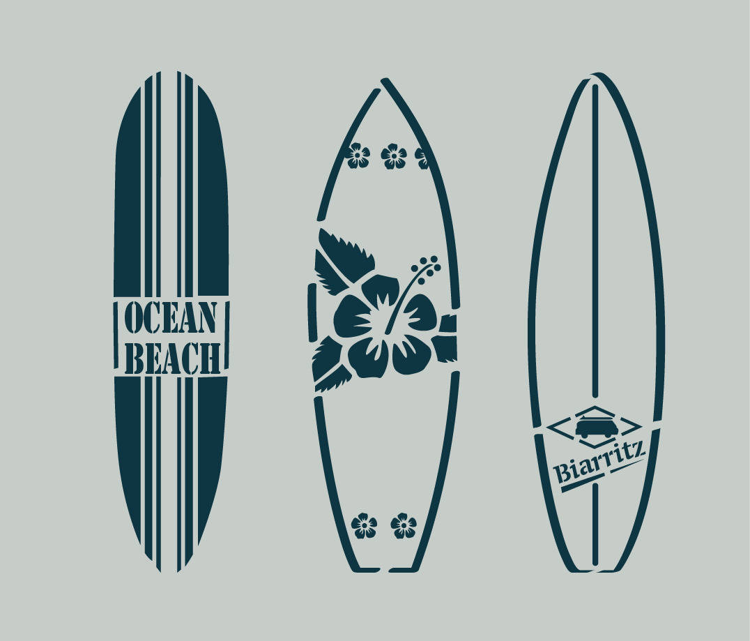Pochoir en vinyle adhésif. Planches de surf. Bord de mer (ref 85)