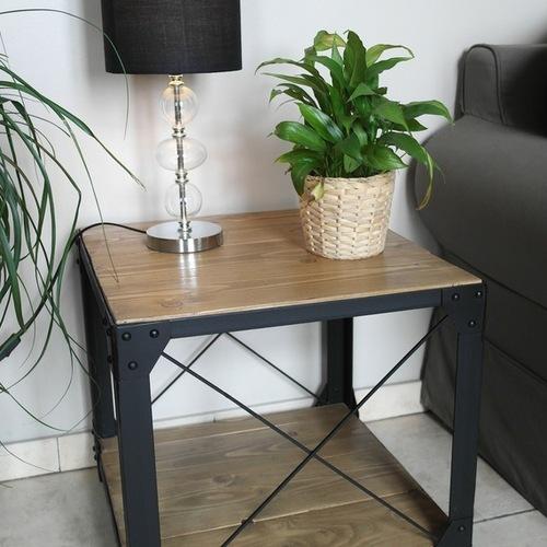 Petite Table Basse Style Loft Bois Et Acier