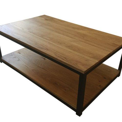 Table basse en acier et chêne massif
