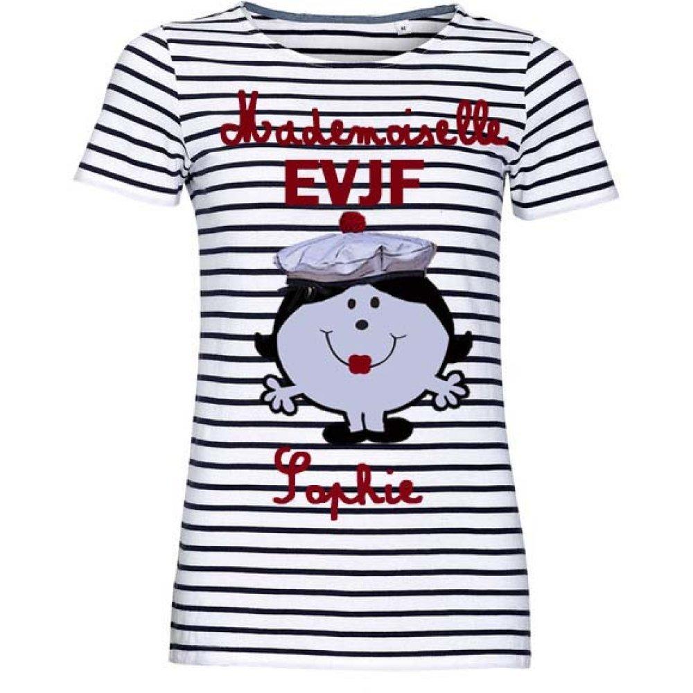 T-shirt marinière personnalisée mademoiselle EVJF