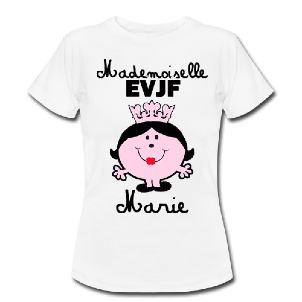 T-shirt personnalisé Mademoiselle EVJF, evjf, enterrement de vie de jeune fille, mariage,