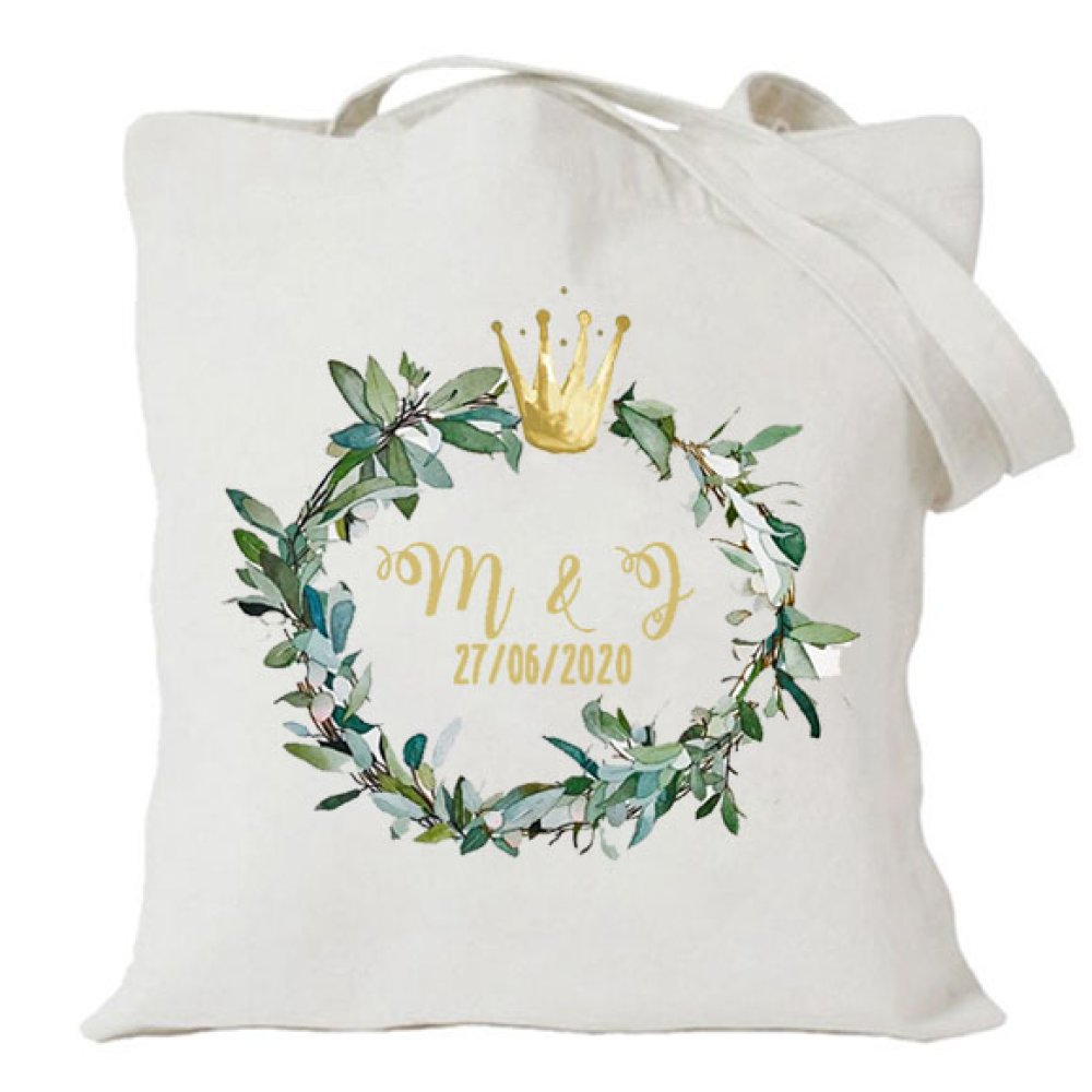 Tote bag EVJF , couronne feuillage et couronne d'or, evjf, mariage, after wedding, brunch wedding