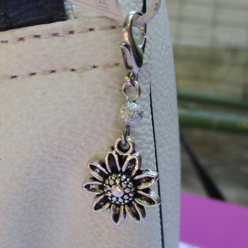 Idée cadeau - bijou fermeture éclair breloque tournesol, pendentif, sac, porte clés, trousse, cartable, gilet...