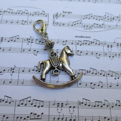 Idée cadeau - bijou fermeture éclair breloque cheval à bascule, pendentif, sac, porte clés, trousse, cartable, gilet...