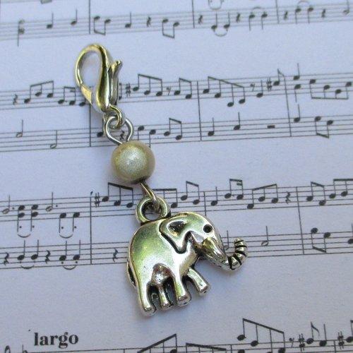 Idée cadeau - bijou fermeture éclair breloque éléphant, pendentif, sac, porte clés, trousse, cartable, gilet...