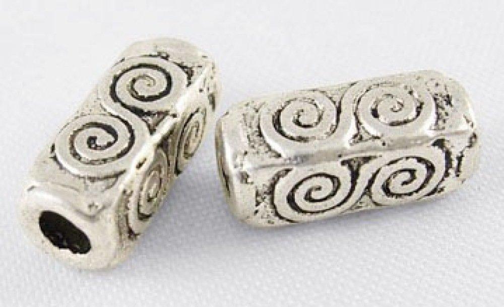 x50 perles métal rectangulaire 10mm argent