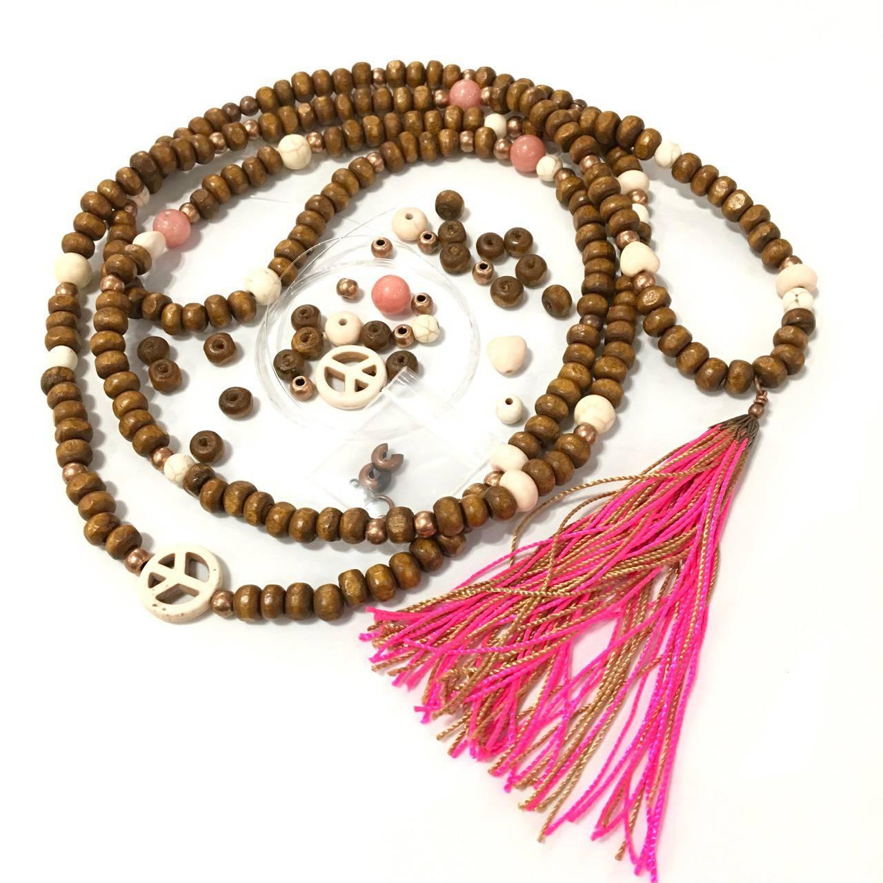 "Kit création ""collier chapelet bois"" peace and love rose style boho hippie chci"