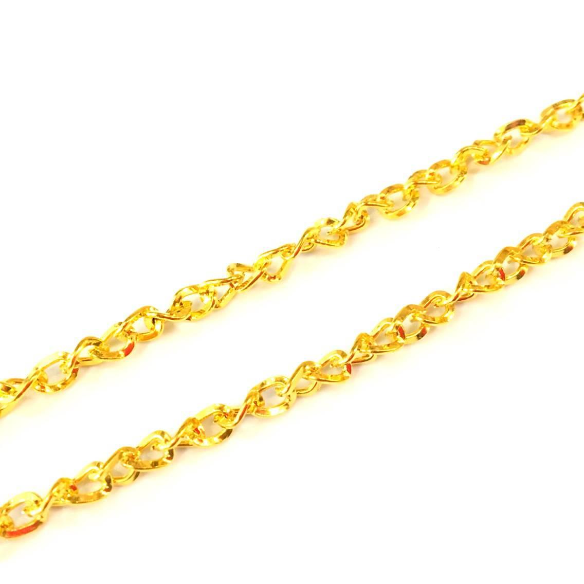 ❤ X4 metres chaine maillons plat torsadés 3x5mm doré ❤