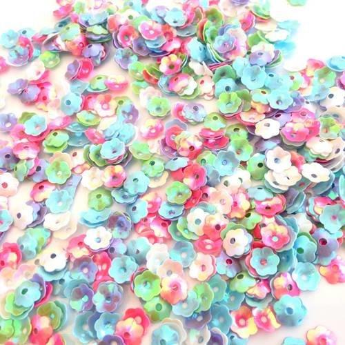 X500 sequins paillettes fleurs 6mm mix multicolors
