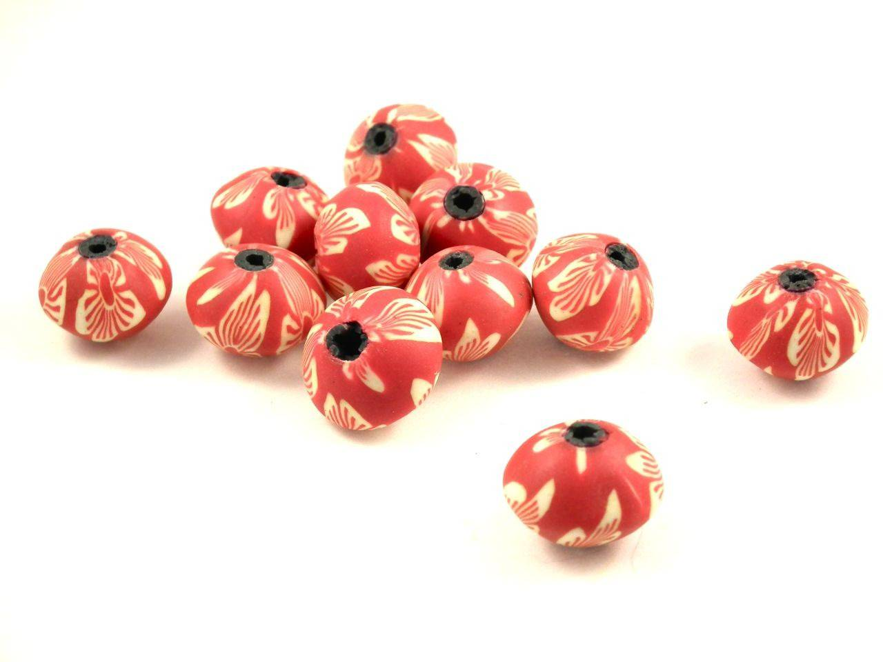 X 10perles fimo abacus rouge 13mm