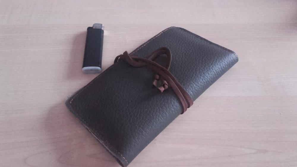 Blague à tabac cuir marron pour hommes, étui tabac à rouler cuir, fumeurs, fêtes des pères.