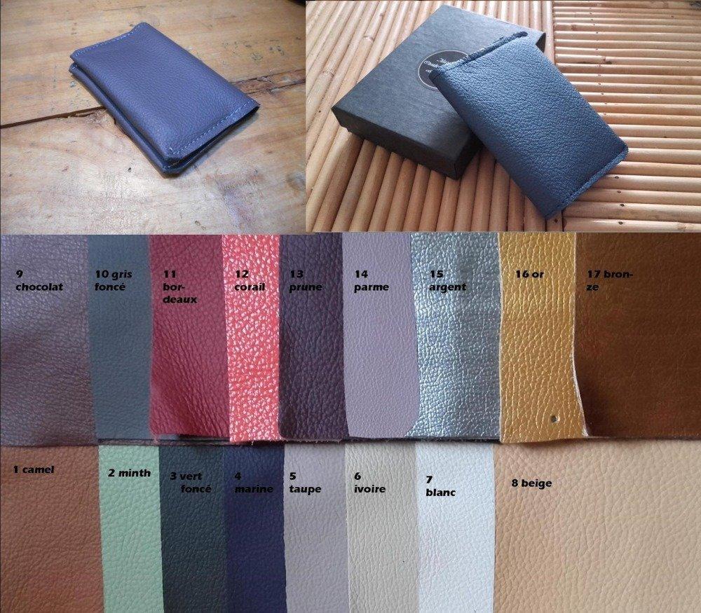 Porte carte cuir personnalisable, maroquinerie artisanale, cadeau fêtes des pères, portefeuille minimaliste couleur au choix.