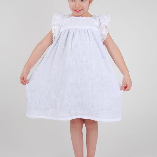 Robe demoiselle d honneur petite fille gaze de coton et dentelle bohème personnalisable.
