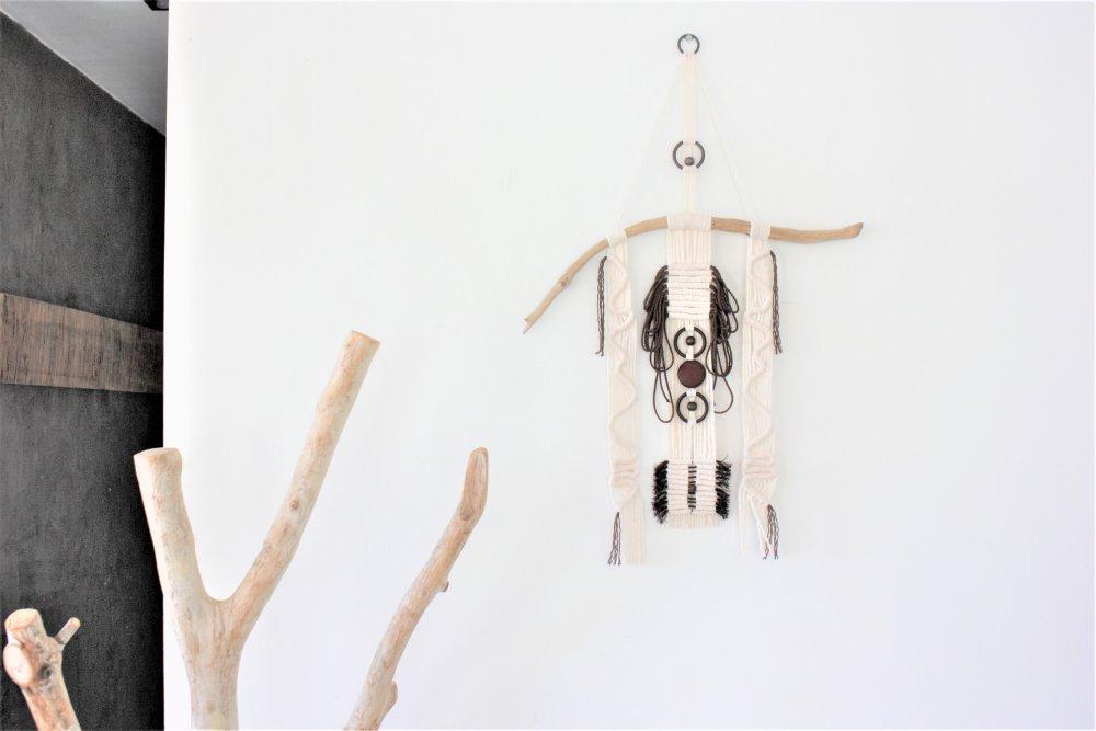 Décoration murale, Art et macramé, collection ethnique, beige et marron