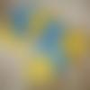 Lingettes lavables, bleu canard et jaune moutarde