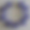 1 bracelet perles rocailles verre (2.5mm) bleu marine lined argenté à personnaliser réglable -18/23cm