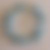 1 bracelet perles rocailles (1.5mm)/rondes (8mm) bleu transparent/craquelé bleu à personnaliser réglable -17.5/22.5cm
