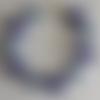 1 bracelet perles rocailles (2mm)/rondes (8mm) bleu marine lined argenté/bleu marine nacré à personnaliser réglable -17.5/22.5cm