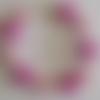 1 bracelet perles rocailles (2mm)/rondes (8mm) fuchsia nacré/rose nacré à personnaliser réglable -17.5/22.5cm