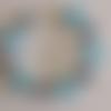 1 bracelet perles rocailles (2mm)/rondes (8mm) aquamarine/bleu marine nacré à personnaliser réglable -17.5/22.5cm