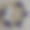 1 bracelet perles rocailles (2mm)/rondes (8mm) bleu marine nacré/bleu ciel nacré à personnaliser réglable -17.5/22.5cm