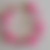 1 bracelet perles rocailles (2mm)/rondes (8mm) rose fluo givré/rose givré à personnaliser réglable -17.5/22.5cm