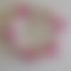 1 bracelet perles rocailles (2mm)/rondes (8mm) fuchsia lined/craquelé rose à personnaliser réglable -17.5/22.5cm
