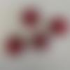 5 perles verre à picots connecteurs 8mm rouge/noir