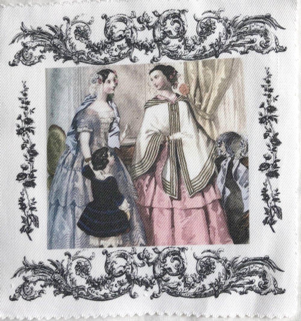 Coupon de tissu motif gravure de mode , pour couture, patchwork, broderie  au ruban, déco chambre enfant