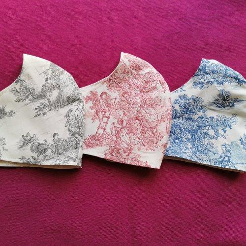 Masque de protection tissu motif toile de jouy