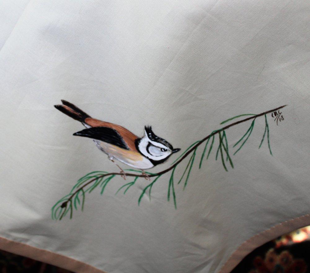 nappe en coton beige oiseaux