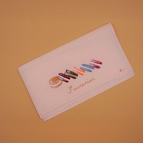 Pochette range serviette de table peintes à la main en coton macarons