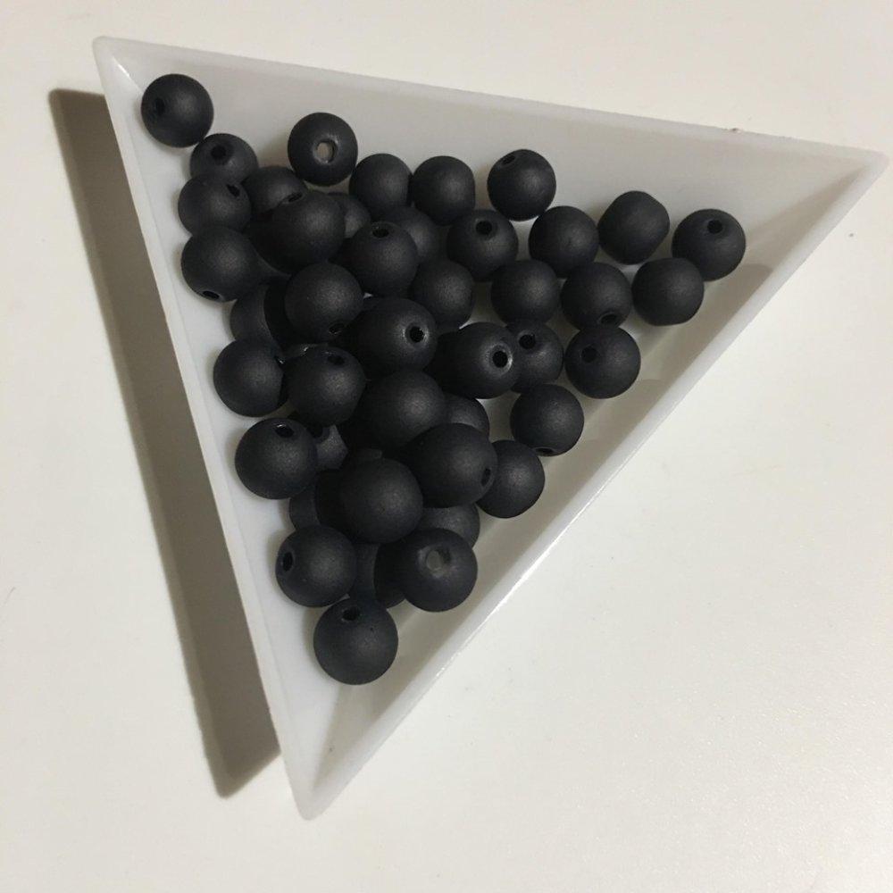 50 perles en verre givré 6mm noir